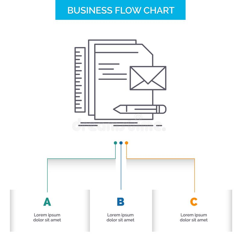 Бренд, компания, идентичность, письмо, дизайн графика течения дела представления с 3 шагами r иллюстрация вектора