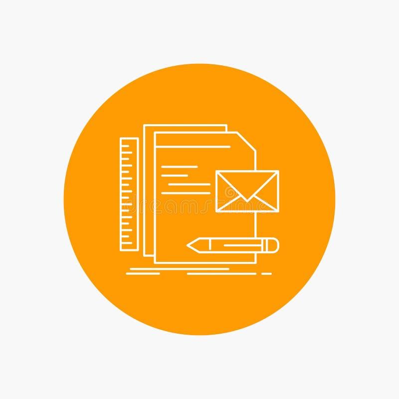 Бренд, компания, идентичность, письмо, линия значок представления белая в предпосылке круга r бесплатная иллюстрация