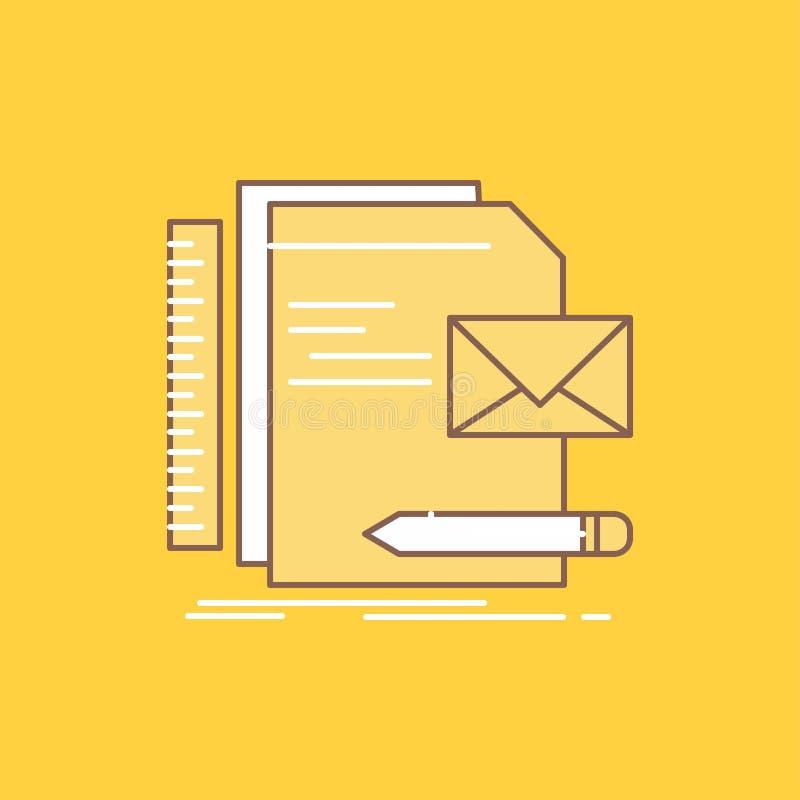 Бренд, компания, идентичность, письмо, линия представления плоская заполнил значок Красивая кнопка логотипа над желтой предпосылк иллюстрация вектора