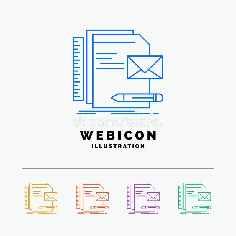 Бренд, компания, идентичность, письмо, шаблон значка сети цветного барьера представления 5 изолированный на белизне r иллюстрация штока