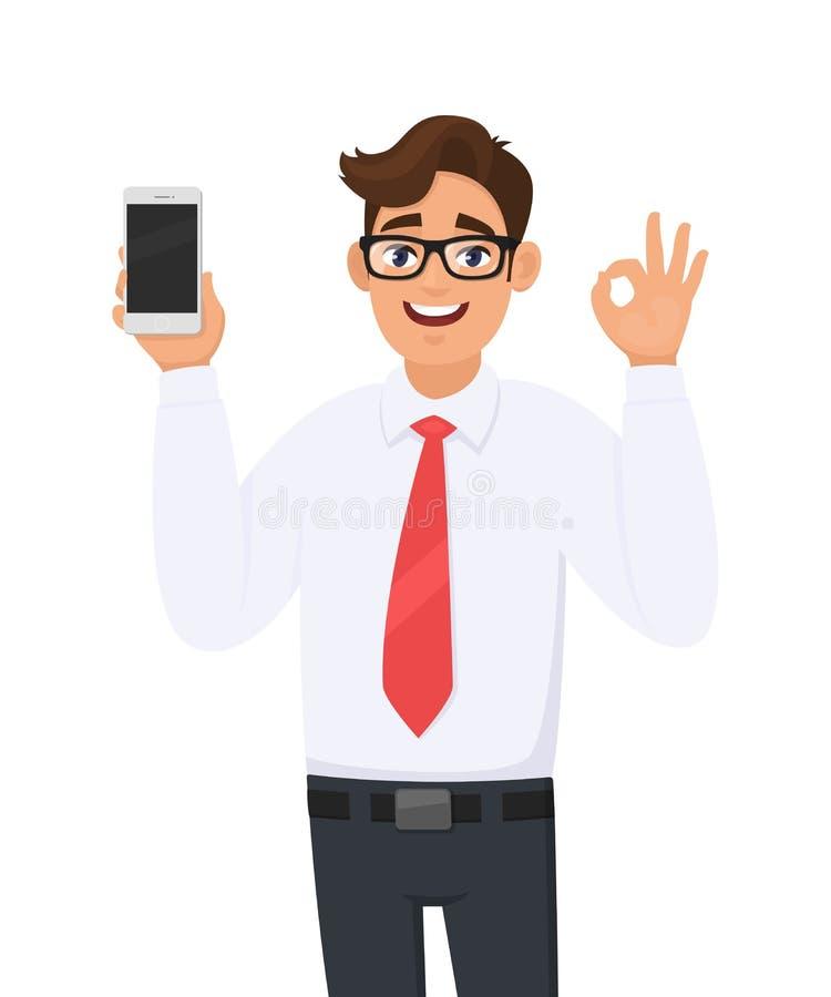 Бренд показа бизнесмена новый, самый последний смартфон Обнесенное решеткой место в суде человека, мобильный телефон и показывать бесплатная иллюстрация