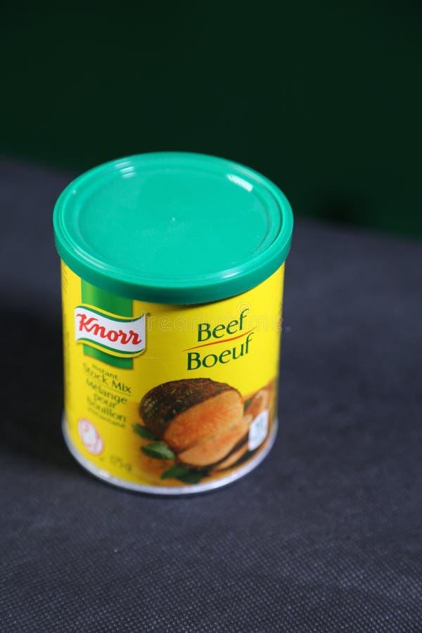 Бренд Knorr - смешивание запаса говядины для рассказа подливки стоковая фотография
