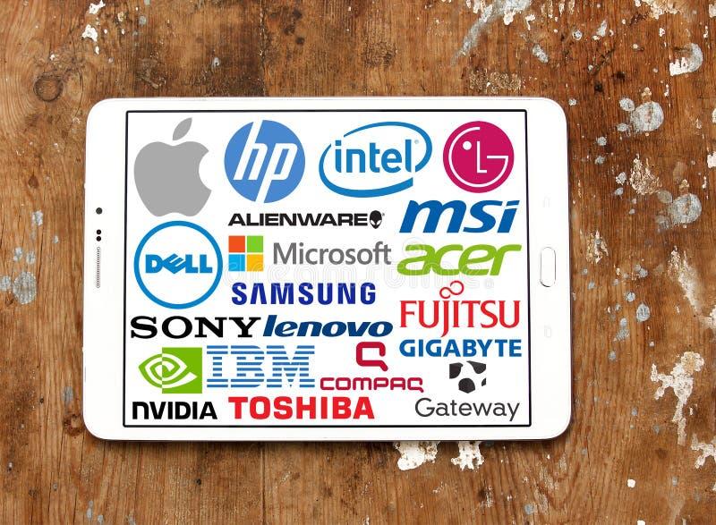 Бренды и логотипы компьютера (ПК) стоковые изображения