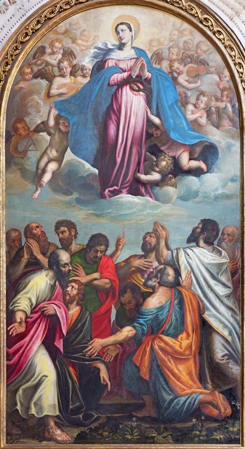БРЕШИЯ, ИТАЛИЯ, 2016: Картина предположения девой марии в dei Miracoli Santa Maria di Chiesa церков стоковое фото rf