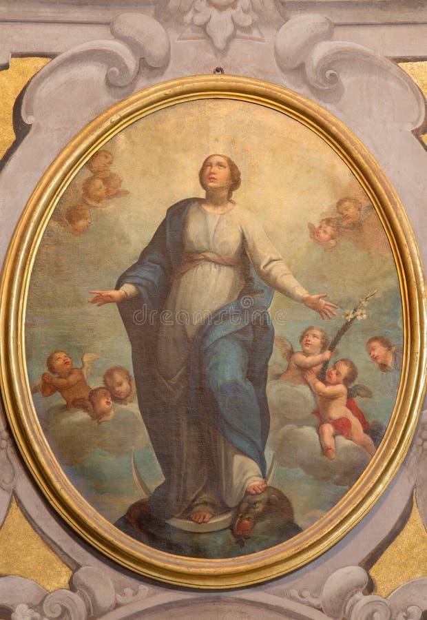 БРЕШИЯ, ИТАЛИЯ - 21-ОЕ МАЯ 2016: Картина непорочного зачатия в della Carita Santa Maria di Chiesa церков стоковые фотографии rf