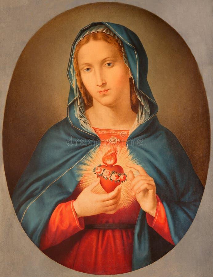 БРЕШИЯ, ИТАЛИЯ, 2016: Старое напечатанное изображение сердца девой марии в Chiesa di Сан Pietro в Olvieto от конца 19 цент стоковое фото rf