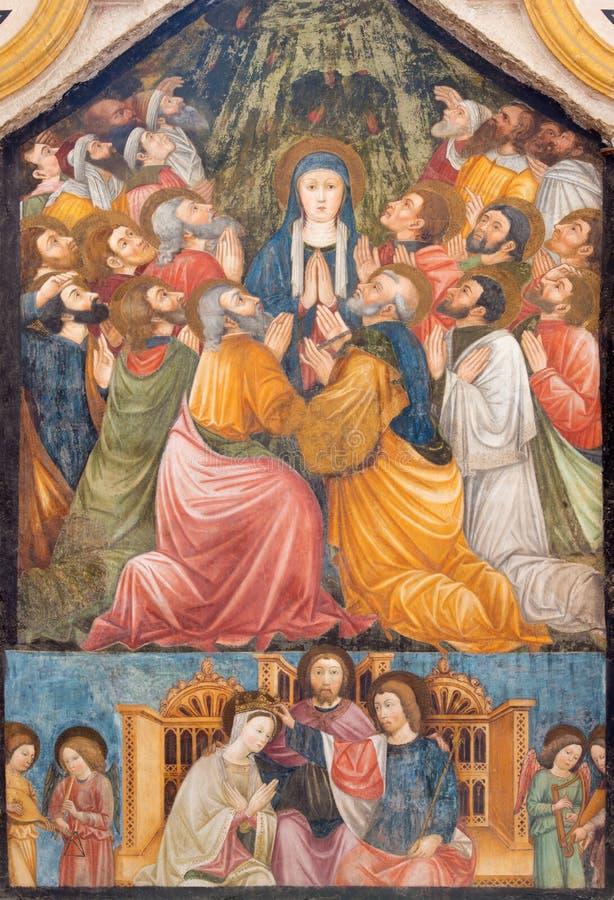 БРЕШИЯ, ИТАЛИЯ, 2016: Фреска Pentecost в di Santa Maria del Кармине & x28 Chiesa церков; Chapel& x29 Pentecost; стоковая фотография