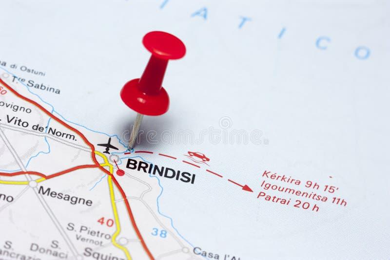 Бриндизи Италия на карте стоковое изображение