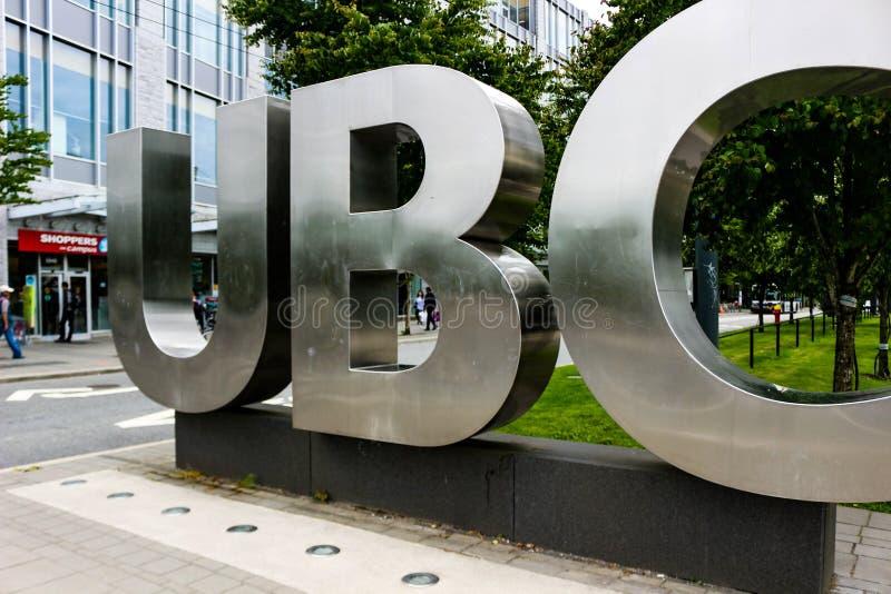 Британская Колумбия Ванкувера, 20-ое июня 2018: Редакционное фото знака UBC который знаменует что вы в университете стоковые фото
