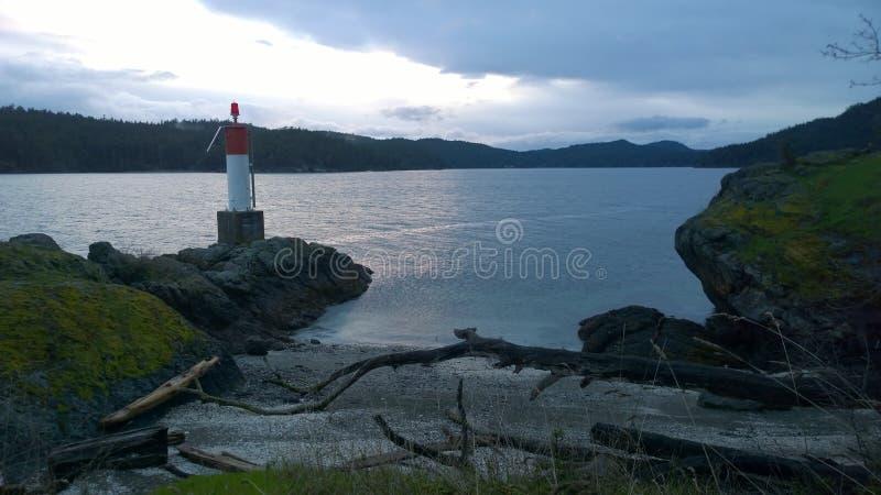 Британская Колумбия захода солнца, остров pender побережья стоковое фото