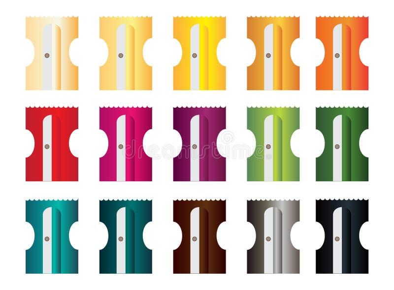 Бритвы в 15 других цветах для карандашей иллюстрация штока