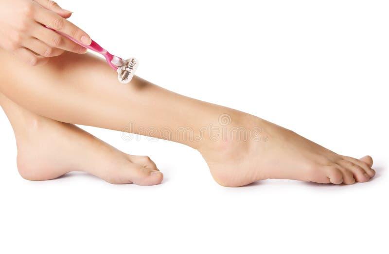 Брить ногу. стоковое изображение