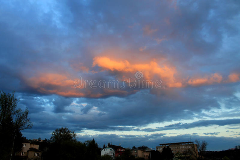 Брно, оранжевый вечер стоковое фото rf