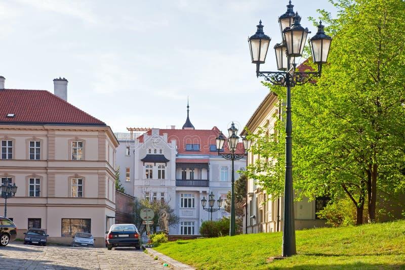Брно. Улица в старом городке стоковые фотографии rf
