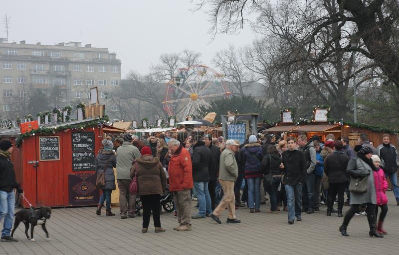 Брно, чех республик-декабрь 12,2014: Рождественская ярмарка на Моравии стоковая фотография