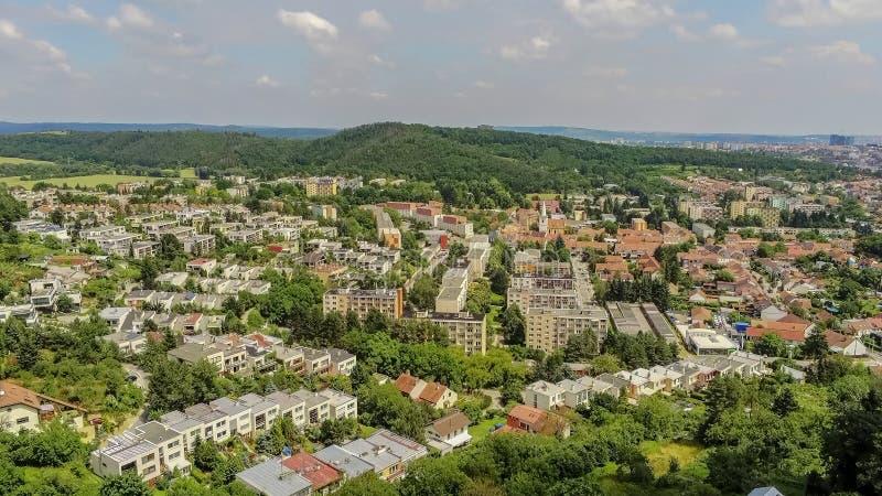 Брно-Komin северо-западный район Брна выше, чехия стоковое изображение