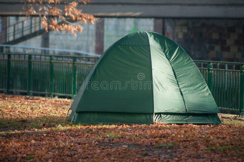 Бродяга в шатре иглу в городском парке стоковые фотографии rf