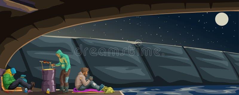 Бродяга под мостом бесплатная иллюстрация
