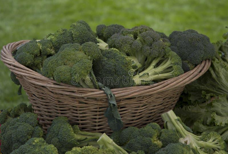 Брокколи показал в плетеной корзине на рынке фермеров стоковые фотографии rf