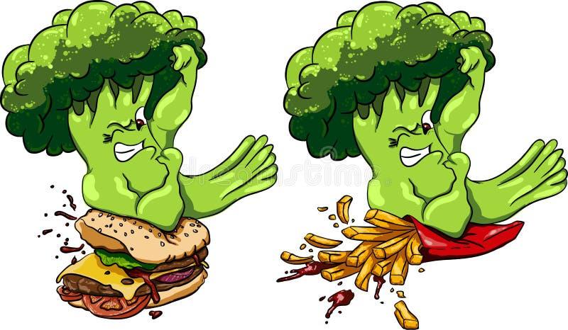 Брокколи против бургера и французских фраев, здоровая еда голодает, конкуренция бесплатная иллюстрация