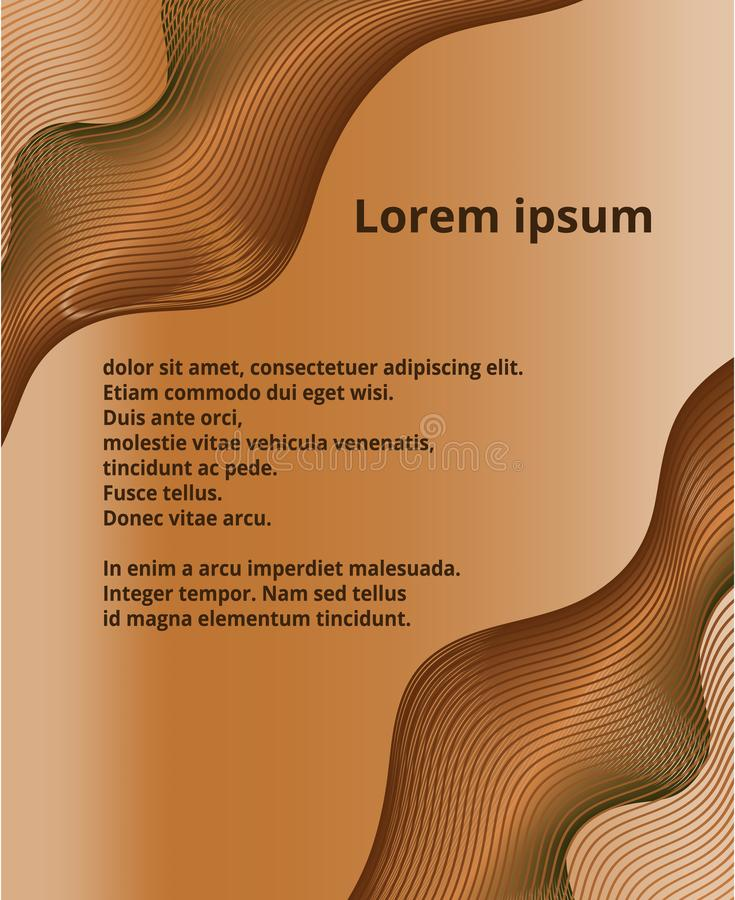 Бронзовая оранжевая металлическая волна изгибает абстрактную предпосылку с samp иллюстрация вектора