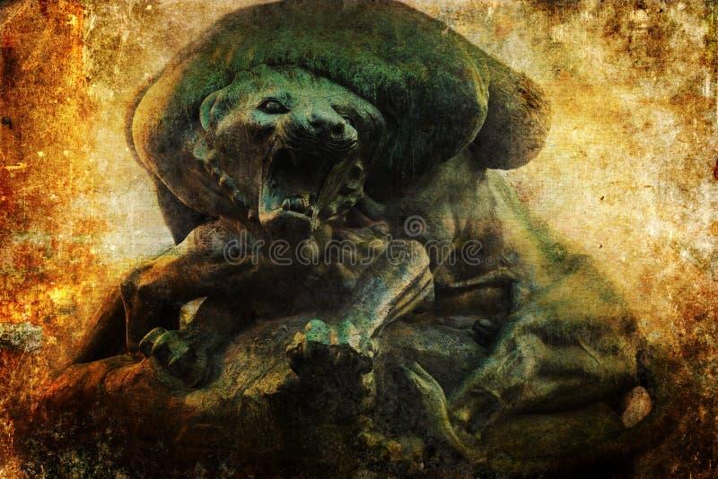 Бронзовая скульптура льва с античной текстурой стоковое фото rf