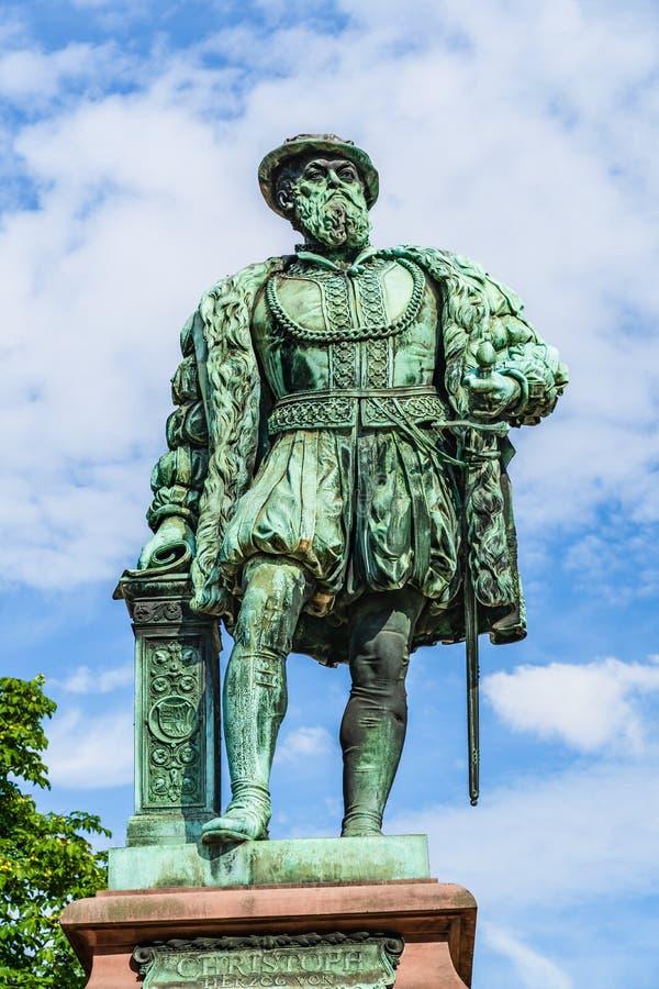 Бронзовая статуя Кристофа Герцога герцога Вюртемберга, скульптора Пола Мюллера в 1887 году в Штутгарте, Германия стоковое фото rf