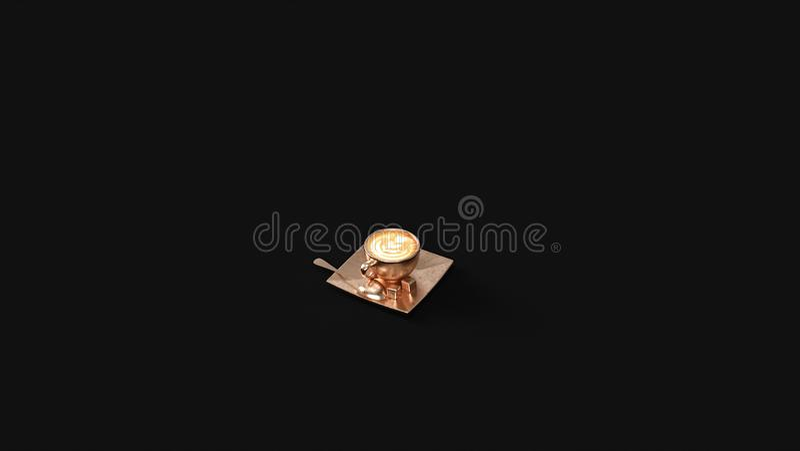 Бронзовое капучино в латунной чашке стоковое фото rf