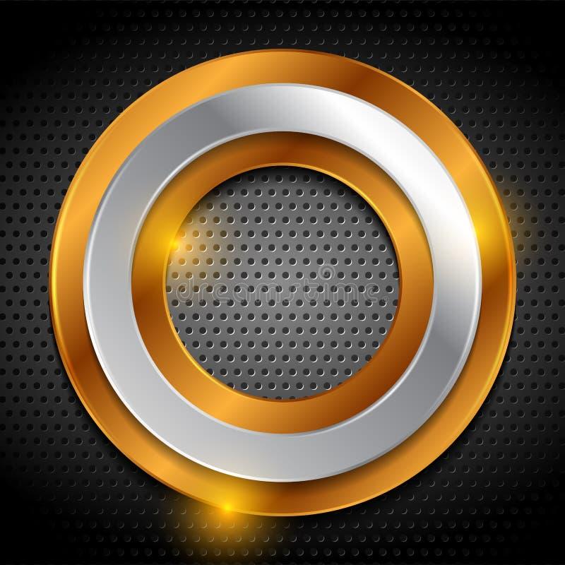 Бронзовые и серебряные кольца на металлической пефорированной предпосылке бесплатная иллюстрация