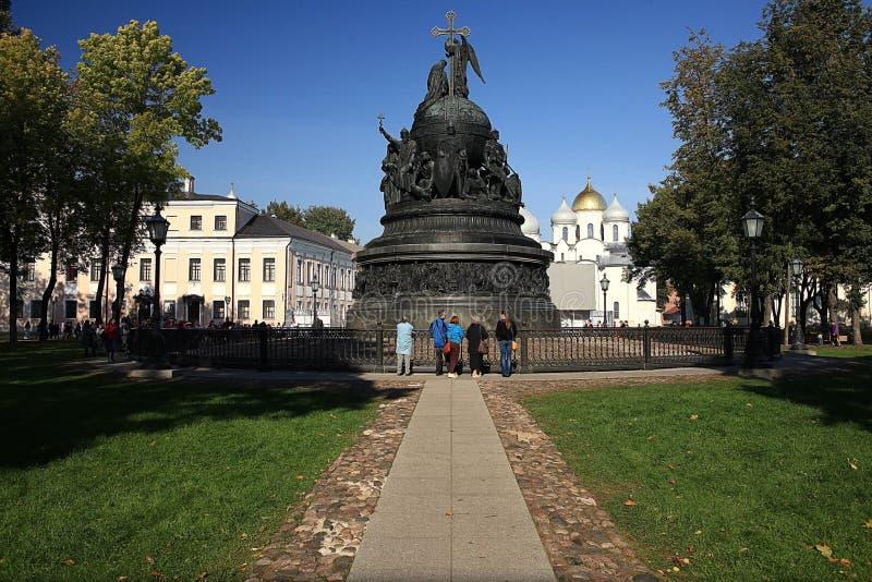Бронзовый памятник к тысячелетию России, части второго скульптурного регистра стоковая фотография rf