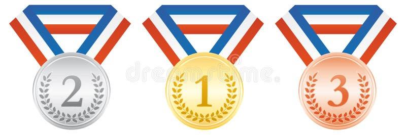 бронзовый серебр золотых медалей Значок спорта церемонии вручения премии Голубая белая и красная лента бесплатная иллюстрация