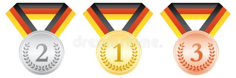 бронзовый серебр золотых медалей Значок спорта церемонии вручения премии Черная красная и желтая лента Немецкий флаг ленты бесплатная иллюстрация