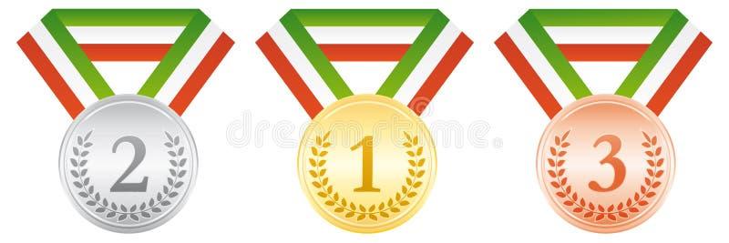бронзовый серебр золотых медалей Значок спорта церемонии вручения премии Зеленая белая и красная лента бесплатная иллюстрация