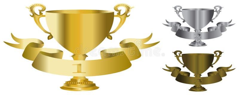 бронзовый трофей серебра золота иллюстрация штока