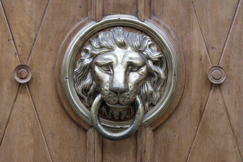 Бронзовый knocker двери льва стоковые фотографии rf