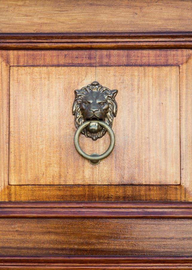 Бронзовый Knocker льва на двери дуба стоковая фотография rf