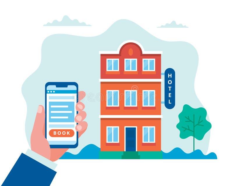 Бронирование гостиниц, искать и резервирование Рука держа смартфон Иллюстрация вектора концепции в плоском стиле иллюстрация штока