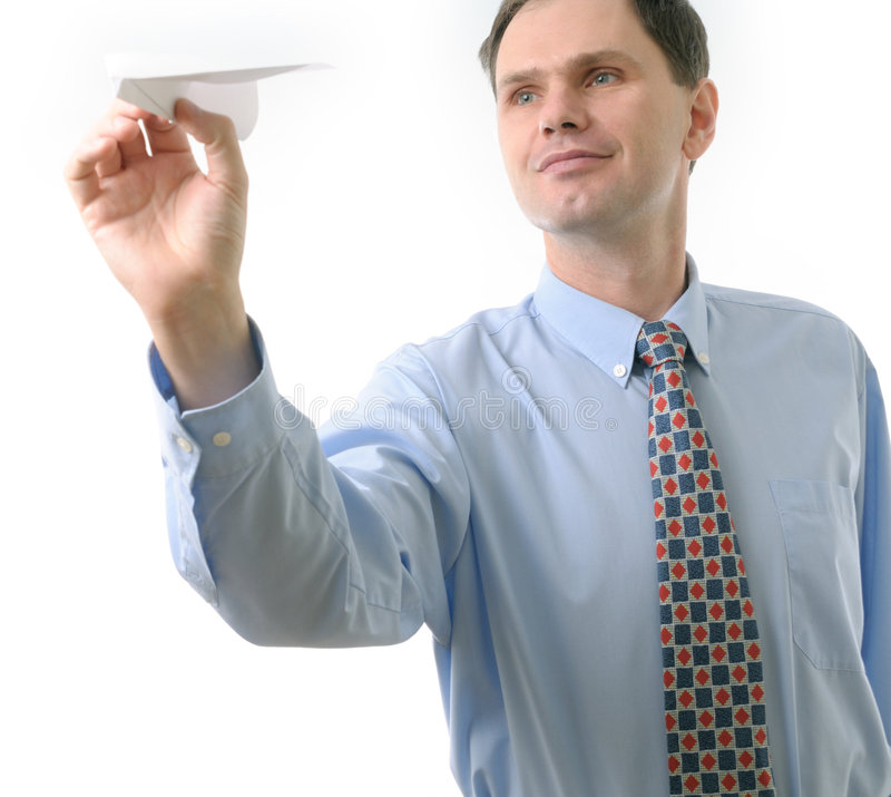 Download бросать бизнесмена самолета бумажный Стоковое Изображение - изображение насчитывающей кавказско, шаловливо: 6858451