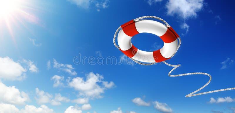 Бросать спасательный жилет в небе стоковое изображение