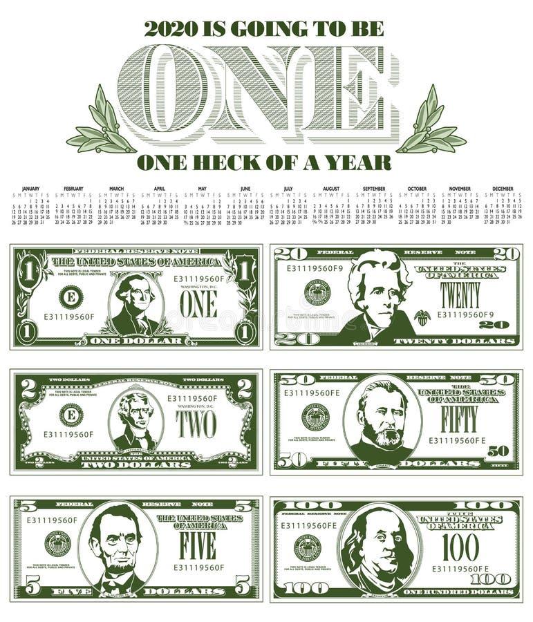 Броский календарь 2020 с 6 счетами бесплатная иллюстрация
