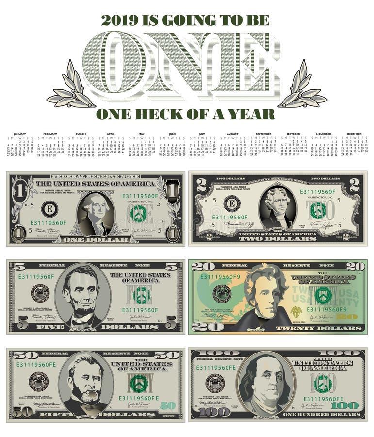 Броский календарь 2019 с 6 счетами иллюстрация штока