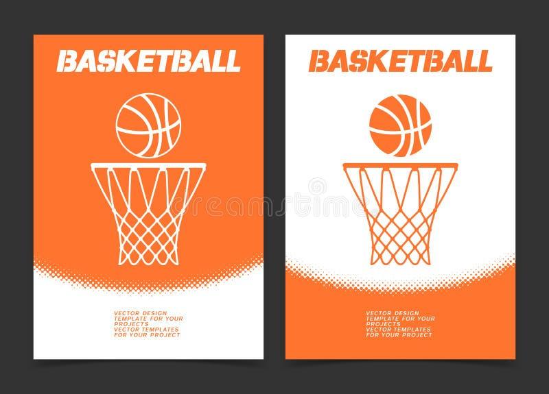 Брошюра баскетбола или дизайн знамени сети с значком шарика и обруча бесплатная иллюстрация