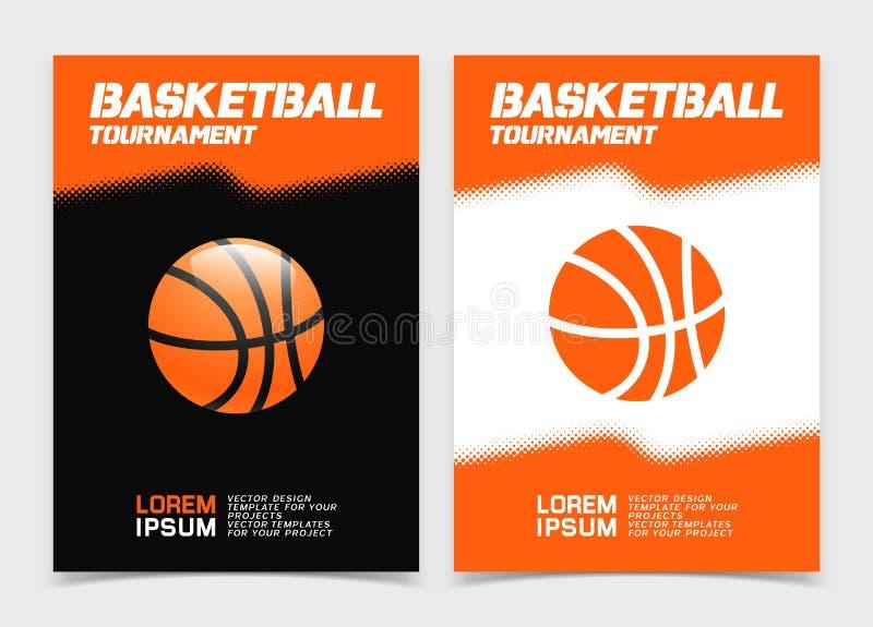 Брошюра баскетбола или дизайн знамени сети с значком шарика иллюстрация штока