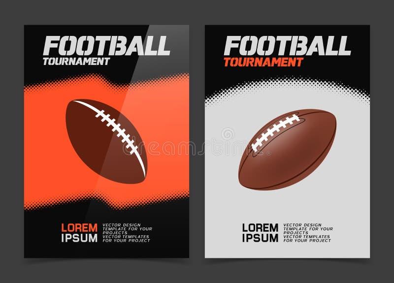 Брошюра или дизайн знамени сети с значком шарика американского футбола иллюстрация вектора