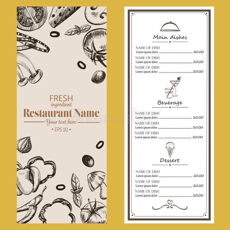 Брошюра кафа ресторана меню еды рисуя ретро templa дизайна иллюстрация вектора