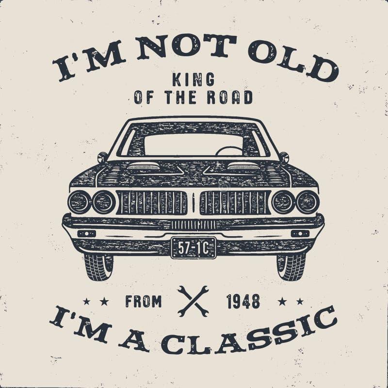 Брошюра подарка годовщины 70 дней рождения I m старое I m классика, король дороги формулирует с классическим автомобилем Принесен иллюстрация вектора