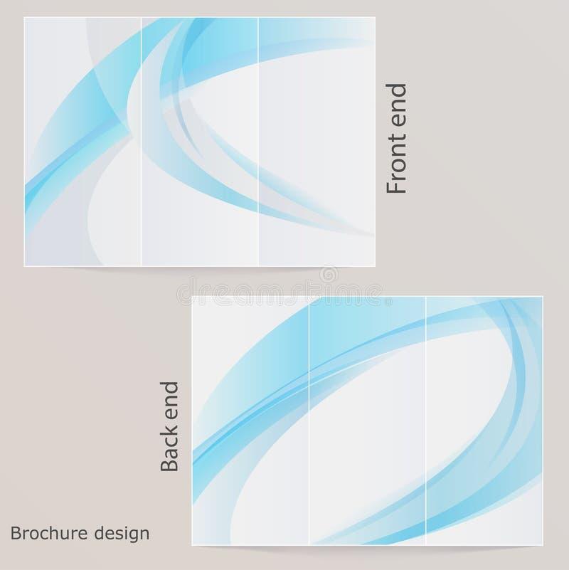 Download Брошюра плана втройне. Дизайн с синью волнами Иллюстрация вектора - иллюстрации насчитывающей backhoe, уговариваний: 33736395