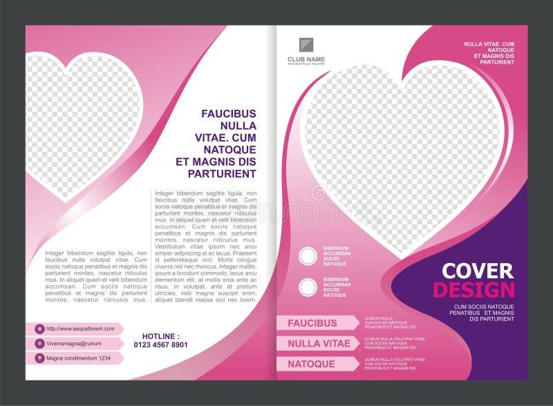 Брошюра, рогулька, дизайн шаблона с розовым цветом и влюбленность иллюстрация вектора