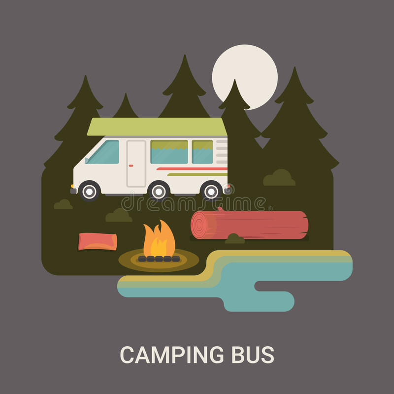 Брошюра рогульки логотипа лагеря располагаясь лагерем шины vector квартира i иллюстрация штока