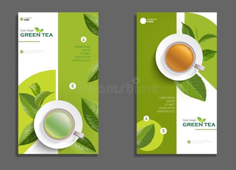 Брошюра чашки черного чая и зеленого чая, знамя, выходит вектор иллюстрация вектора